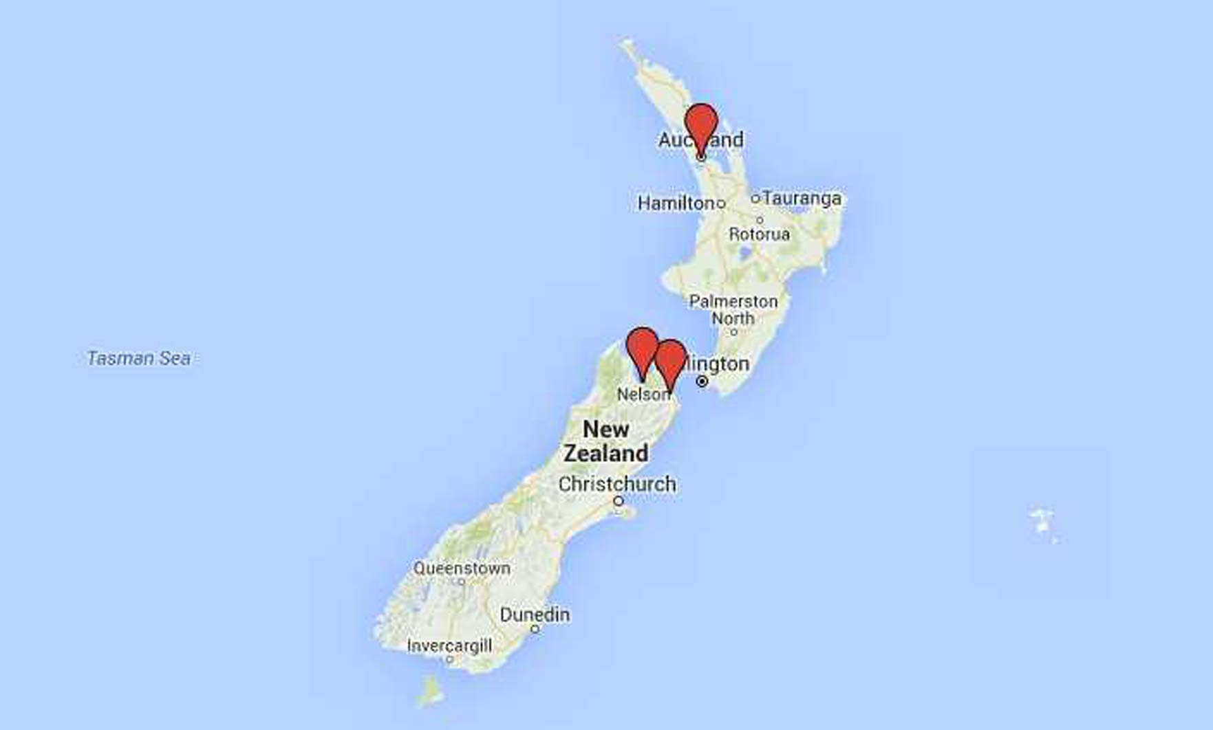 Map Nelson New Zealand.Campuses Nmit